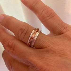 Boho 925 Silver Spinner Ring with a Copper Band